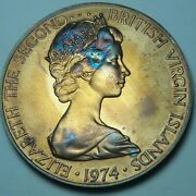 1974 British Virgin Islands Silver Proof One Dollar Bu Unc Color Toned Coin