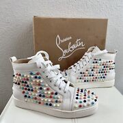 Christian Louboutin White Leather Multicolor Spikes Stud Sneakers Box Sz 37