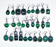 New Arrive 200 Pairs Lot Natural Green Onyx Gemstone Silver Plated Earrings