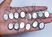 Wholesale 200 Pairs Lot Natural Mother Of Pearl Gemstone Silver Plated Earrings