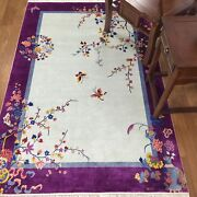 Yilong 4and039x6and039 Purple Hand Knotted Chinese Art Deco Silk Rug Butterfly Carpet