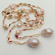 Cultured Pink Keshi Pearl Mixed Color Rectangle Cz Pave Long Chain Necklace 50