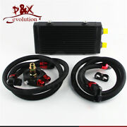 Universal Small Dual Pass Bar And Plate Oil Cooler + Flat Filter Adapter Hose Kit