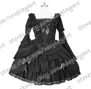 Lady Lace Victorian Ball Gown Bow-tie Layered Vintage Gothic Lolita Frill Dress