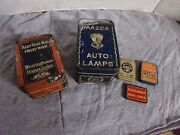 Lot Of Antique Gewestinghouse Mazda Auto Lamps Light Bulb Metal Tins Fusesmore