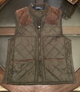 Gentandrsquos Size Medium Hunter Quilted Vest Leather Accents Hunter Green