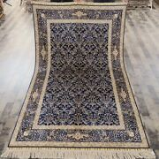 5x8ft Blue All Over Hand Knotted Area Rug Flowers Hand Knotted Silk Carpet S655a