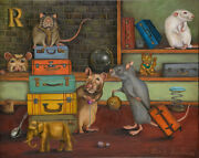 Pack Rats Suitcase Humor Kitty Rat Storage Funny Cat Original Oil Painting Look