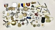 Antique Vintage Large Lot Us Military Jeton Medal Pin Insignia Knives Jewelryold