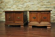 Pair Ethan Allen Classic Manor Square Commode Tables- 27 Large Cabinet 15-8635