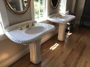 Only One Left- Sherle Wagner Classic China Pedestal Sink W/ Gold Plated Fixture