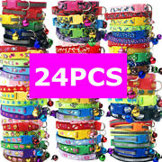 24 Pcs/lot Wholesale Adjustable Nylon Dog Collars For Small Puppy Cat Necklace