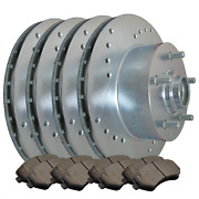 [front And Rear] 4 Drilled Only Brake Rotors And 8 Semi-metallic Pads Atl050135