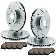 [front And Rear] 4 Drilled Only Brake Rotors And 8 Semi-metallic Pads Atl047775