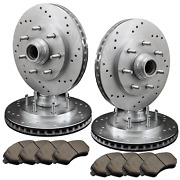 [front And Rear] 4 Drilled Only Performance Brake Rotors +8 Ceramic Pads Atl051516