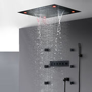 Thermostatic Shower Faucet Electric Led Showerhead Top Mist Rainfall Waterfall