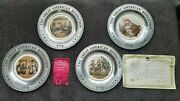 4 Pewter And Ceramic American Revolution Bicentennial Collector Plates 1776-1976