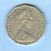 1981 Australian 50 Cents - Of Wales And Lady Diana Coin - Extremely Fine