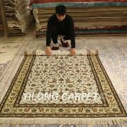 Yilong 5and039x8and039 Flowers Handmade Silk Rug All-over Hand Knotted Porch Carpets 168ab