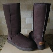 Ugg Classic Tall Ii Chocolate Brown Water-resistant Suede Boots Size 5 Womens