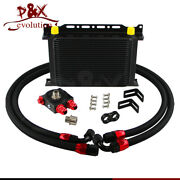 New 25 Row Oil Cooler 10-an10 + Thermostat Sandwich Plate / Adapter Kit Black