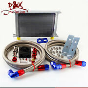 New 25 Row Oil Cooler 10-an10 + Thermostat Sandwich Plate / Adapter Kit Silver