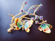 Antique Gold And Enamel Butterfly Brooch