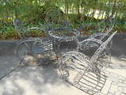 Antique Wired Garden Conversational Glasstop Table W/4 Matching Chairs Set