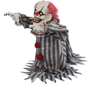 18-in Lurching Jumping Creepy Clown Scary Sound Led Eyes Animated Halloween Prop