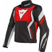 Motorcycle Jacket Man Dainese Edge Tex H45 Black Red Lava White Size 46