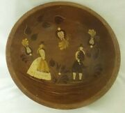 Vintage 13.5 Wooden Dough Bowl By Woodcroftery Handpainted Footed Bowl