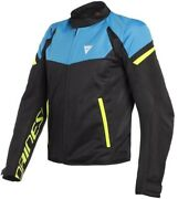 Men's Jacket Dainese Bora Air Tex Black Blue Yellow Size 46 Moto Perforated Stat