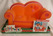 Retired Lalaloopsy Couch Furniture Orange Pink Trim Couch Fits 2 Full Size Dolls