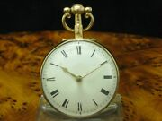 William Smith Gold Mantel Open Face Spindle Watch With Snail And Chain