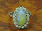 18kt 750 White Gold Ring With 072ct Brilliant And 290ct Opal Trim/diamond/ Rg57