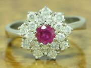 18kt 750 White Gold Ring With 126ct Brilliant And 048ct Ruby Trim/ 81g/ Rg60 5