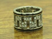 18kt 750 White Gold Ring With Enamel And 051ct Brilliant Decorations / Diamond/rg