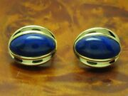 18kt 750 Yellow Gold Studs With 1720ct Lapislazuli Decorations/earrings/169g