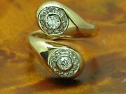 18kt 750 Bicolour Gold Ring With 032ct Diamond Decorations/92g/ Rg 465