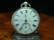 Russel And Co 925 Silver Open Face Pocket Watch Key Lift