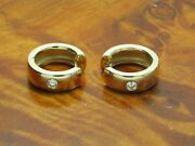 14kt 585 Yellow Gold Clips Hoop Earrings With 020ct Brilliant
