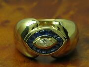 18kt 750 Yellow Gold Ring 020ct Brilliant And 048ct Sapphire Decorations/rg 535
