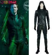 Green Arrow Season 8 Oliver Queen Cosplay Costume Leather Outfit Any Size Lot