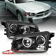2006-2010 For Dodge Charger Black Projector Headlights Pair/hi-power Led Halo