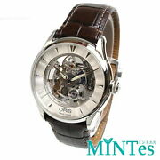 Oris 0173475914051-07 Skeleton Menand039s Wristwatch Automatic Silver Brown 38mm Used