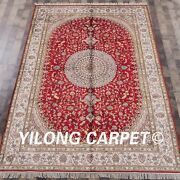 Yilong 6and039x9and039 Red Hand Knotted Area Rug Parlor Classic Handmade Silk Carpet W303c