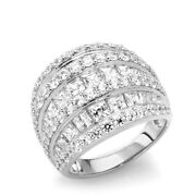 4.35 Ct Simulated Diamond Princess Dome Engagement Ring 14k White Gold Over Sz-8