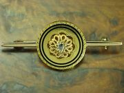 14kt 585 Yellow Gold Art-decó Brooch With Diamond Decorations/antique/4,4g