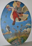 Large Scale Vintage Psychedelic Surrealism Mother Goose Painting C.1969