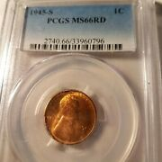 1945-s Red Pcgs Ms-66 Lincoln Bu Coin Uncirculated Cent Whole Set Listed